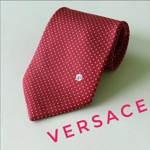 Versace V2 Red Polka Dot Monogram Silk Tie EUC